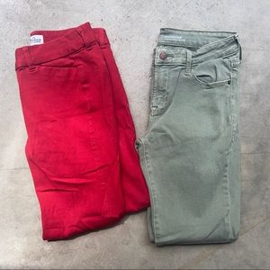 Old navy size 2 jeans and capris red &olive green